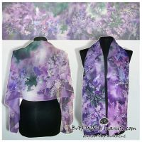 Silk scarf LILAC hand painted - FOR SALE! by MinkuLul