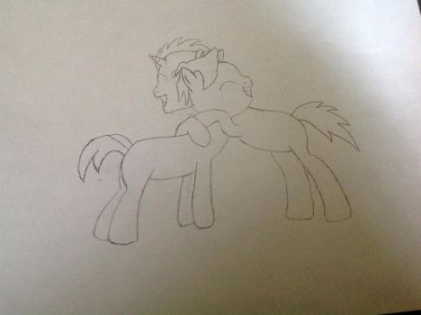 Me (Cryptic Mirage) hugging Beeter (Midnight Nova) by FalconPilot1
