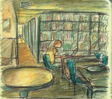 16 Library Sketch by ange-of-the-top-hat