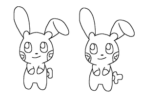 Plusle And Minun Base3 by Skittychu-bases