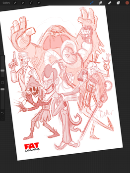 WIP - Back to the asylum! (Roughs) by Fat-Chihuahua