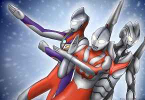 Ultraman, Tiga and Noa by Yuuyatails