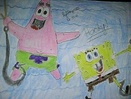 SpongeBob and Patrick on Hooks by Angelgirl10