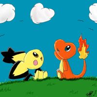 Charmander and Pichu by Popokino