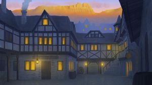 Medieval village at sunset by RLB-art