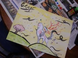 Okami ink and water colour painting 2 by Lugiaisawesome