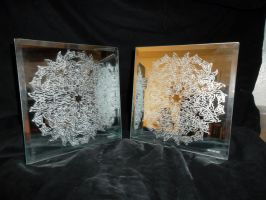 Peggy's Snowflake X2 on Mirror by Fulstein