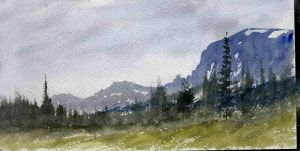 Twin Cabin Watercolor Sketch by Shadow-stepper