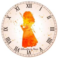 Merida Watercolor Clock by SilhouettesbyMarie