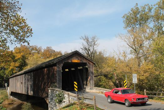 Covered Bridge And A Classic Mustang by SwiftysGarage