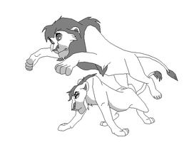 Two lions fighting base by kopaisfluffy