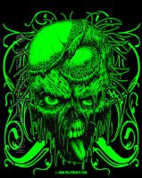 Green Zombie T-shirt by billytackett