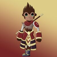 Wukong Chibi Colored Key Chain by SorinCrecens