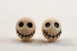 Polymer Clay Skull Stud Earrings by DeidreDreams