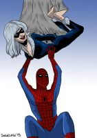 Spidey tickles Black Cat by solletickle