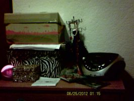 my clutter covered dresser by CaitlynNicoleWright