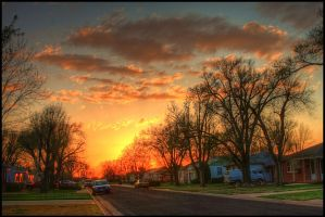 Springtime Street Sundown by FramedByNature