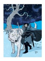 Jon Snow And Ghost by Geoffrey-Lee-Elkins
