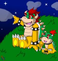 Bowser and Bowser Jr Looking Up The Night Sky by RedBowser