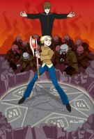 Buffy vs Caleb and Uber Vamps by mikeysammiches
