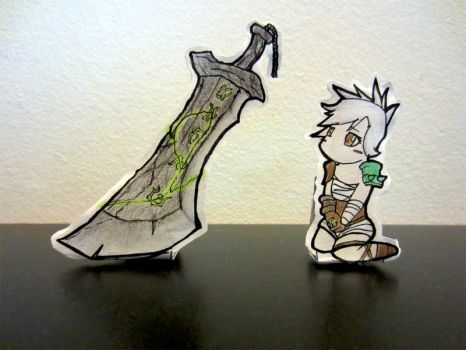 Chibi Riven and Her Sword (Paperdolls) by StuffEaterFromSpace
