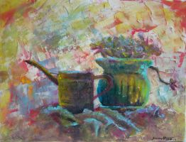 watering can and flower pot by tarmalesh