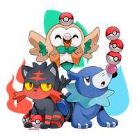 Litten, Rowlet and Popplio by Desinho