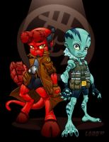 Lil Hellboy and Abe by lordmesa