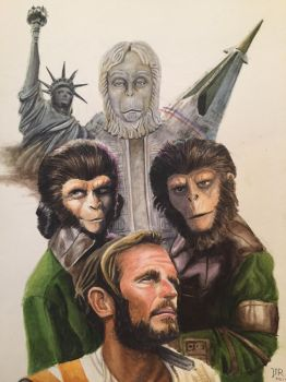 Planet of the Apes Watercolor by JTRIII