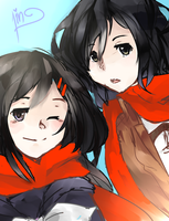 AT with Bunni: Ayano and Mikasa by kyuuriin