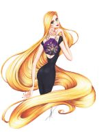 Rapunzel with fashion purse by frozen-winter-prince