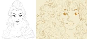 Belle and Merida by madam-marla