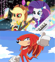 Knuckles approves rainbow rocks. by brandonale