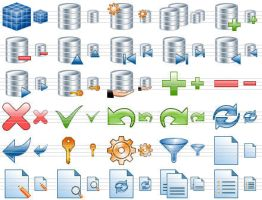Database Toolbar Icons by Ikonod