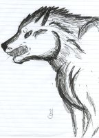 Inked Out- Snarling Wolf by zuedragon
