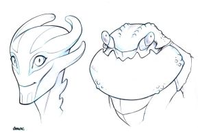 Head Sketches2 by D-MAC