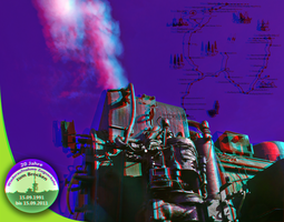 Steam Train Postcard 3D ::: Anaglyph Stereoscopy by zour