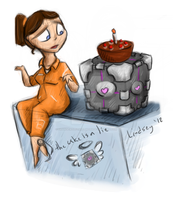 Chell and Companion Cube by OrangeWolfenNetwork