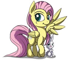 Fluttershy and Angel by SetoNLR