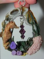 OOAK Ocean Treasures Seahorse with Coral Reef on a by Secretvixen