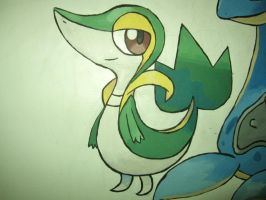 495 Snivy - painting by Crotchmonsoon