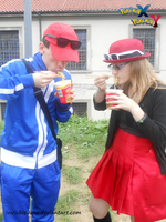 Eating ramen (Serena and Calem cosplays) by InvisibleJune