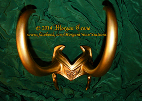 Horned Golden Lady Loki Inspired Demihelm Diadem by MorganCrone