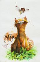 Watercolor 007 Cat and bird by fear-sAs