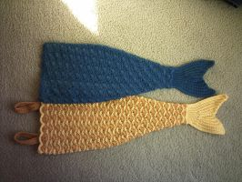 Crocheted baby mermaid tail comparison #1 by ivoryleopard