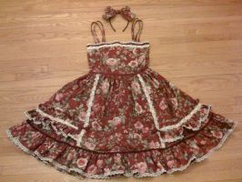 Classic Maroon Floral JSK by Oniwitch