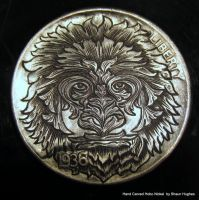 Ornate Leaf Creature Engraved Coin Hobo Nickel by shaun750