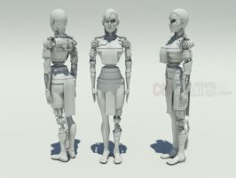 Female Cyborg - stock 3D model by cgrats
