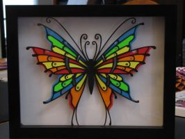 Stained-Glass Butterfly Shadowbox by RazgrizInferno