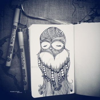 Owl zentangle by i-yamami